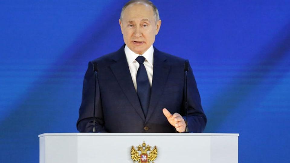 Der russische Präsident Wladimir Putin hält in Moskau seine jährliche Rede zur Lage der Nation.