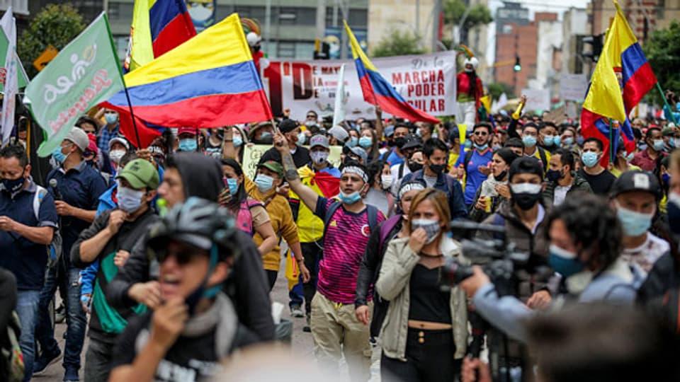Proteste gegen das Steuerreformgesetz in Kolumbien. Bogota, 1. Mai 2021.