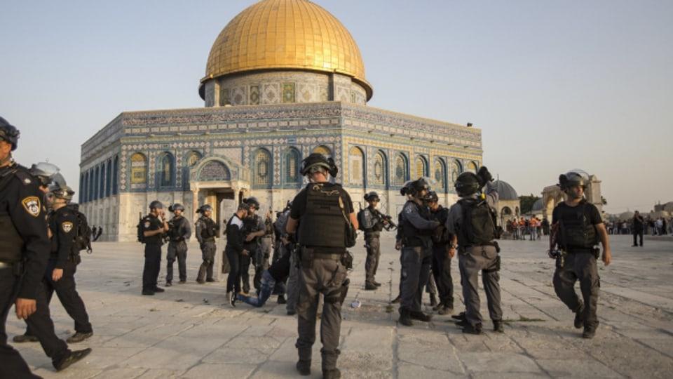 Gewaltsame Auseinandersetzungen nahe der Al-Aqsa-Mosche auf dem Tempelberg.