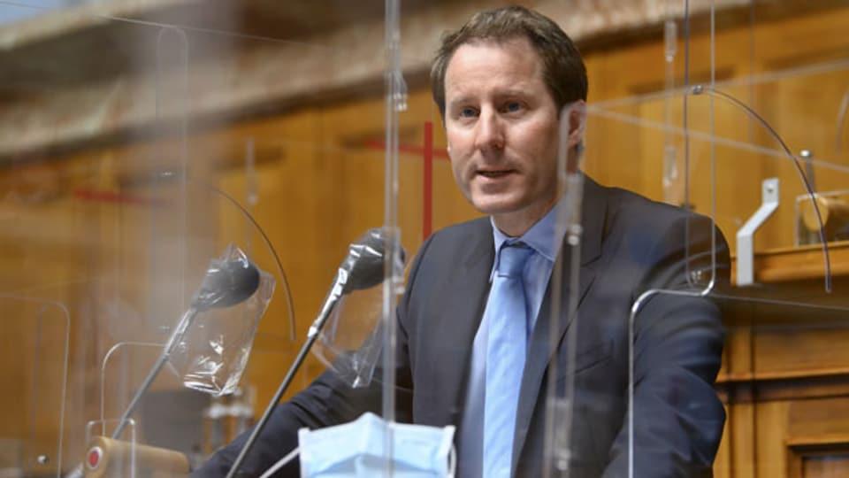 Thomas Aeschi, SVP-ZG, spricht während der Frühlingssession der Eidgenössischen Räte, am 11. März 2021 im Nationalrat in Bern.
