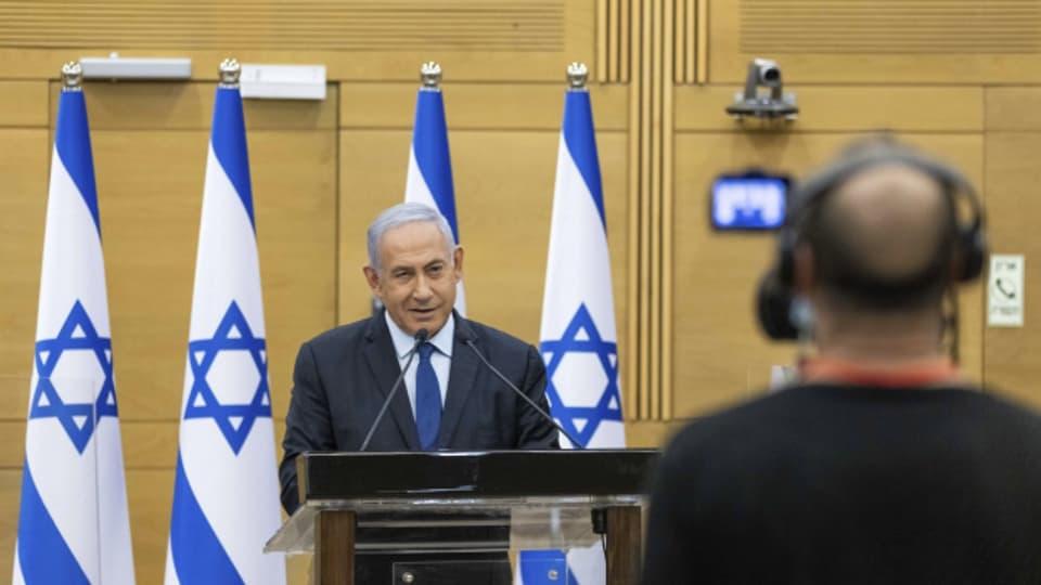 Benjamin Netanyahu bei einer Rede vor dem israelischen Parlament am 30.5.2021.