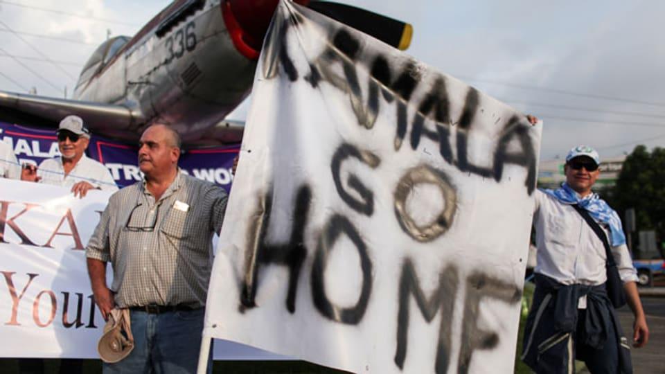 Protest gegen den Besuch von U.S. Vizepräsidentin Harris in Guatemala.