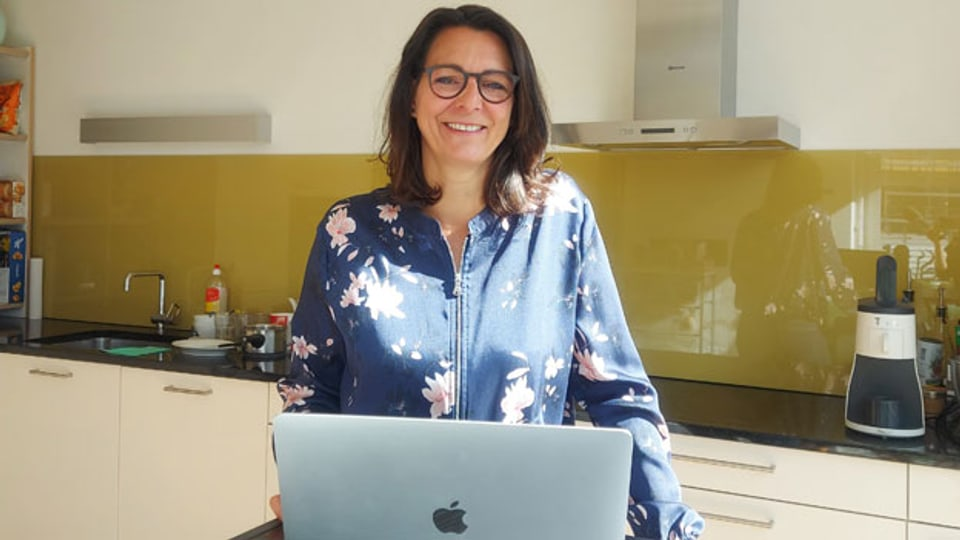 Start-up-Gründerin Nadia Fischer im Homeoffice.