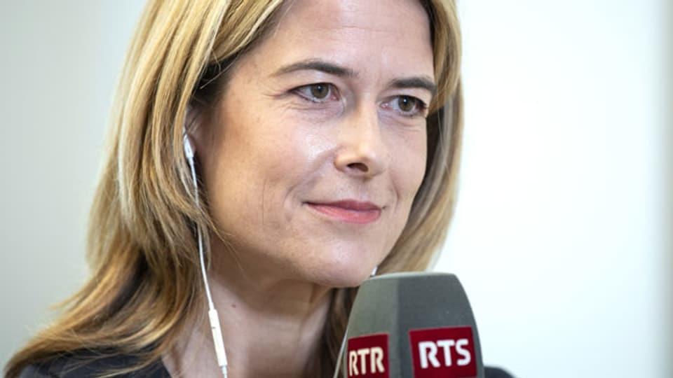 FDP-Parteipräsidentin Petra Gössi spricht an einem Medientermin, am Montag, 14. Juni 2021, in Bern. Gössi gab ihren Rücktritt per Ende Jahr bekannt.