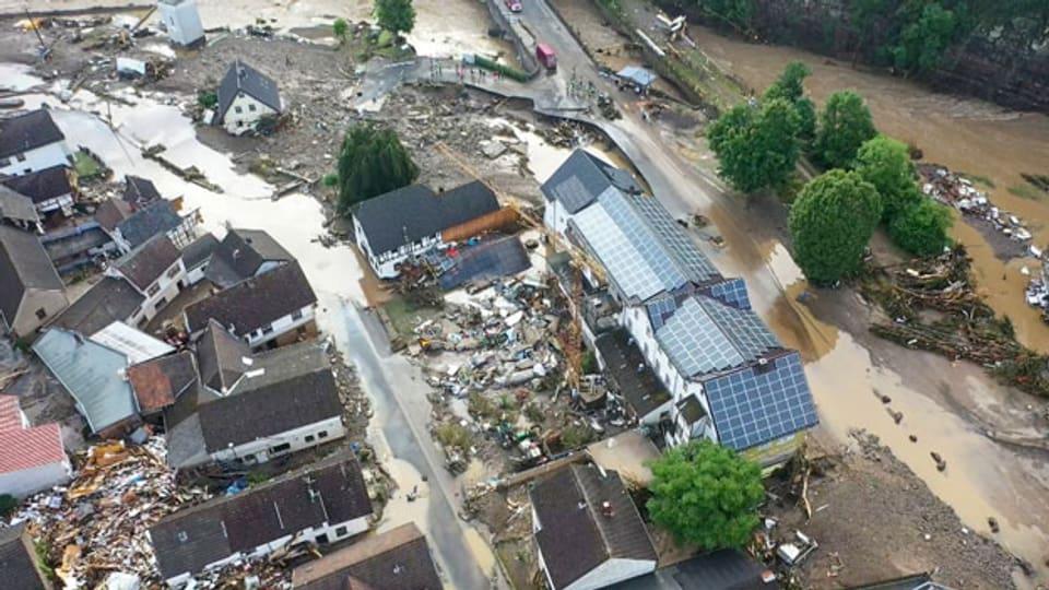 Das Ahrtal in der Eifel (Deutschland) wurde vom Hochwasser schwer getroffen.