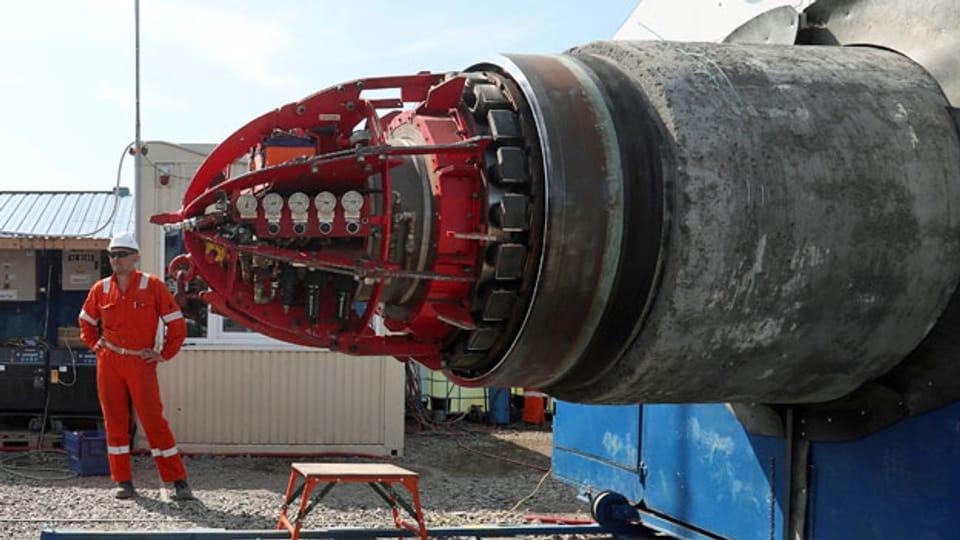 Arbeiter auf der Baustelle der Nord Stream 2-Gaspipeline in Russland.
