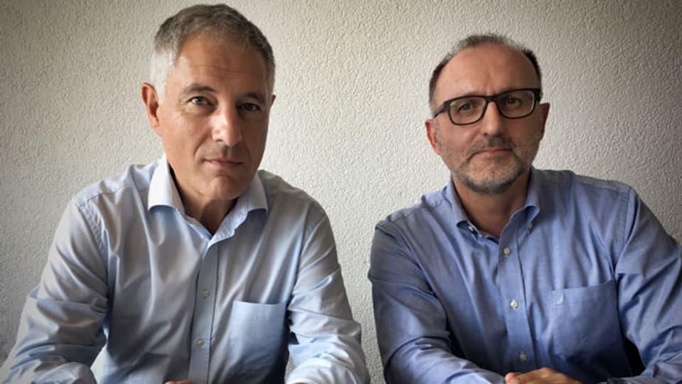 Peter Biedermann, Geschäftsführer des Branchenverbands Swiss Medtech (links) und Daniel Bühler, Direktor von Biotronik.