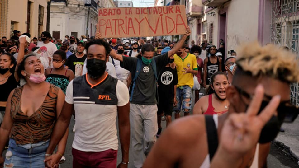 Protestkundgebung am 11. Juli 2021 in Havanna, Kuba.