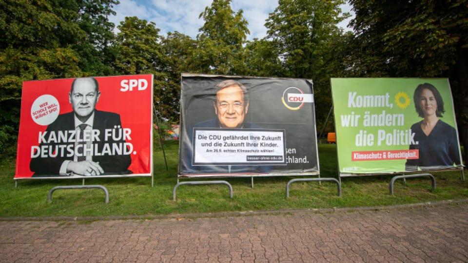 Buhlen um die letzten Stimmen: Kanzlerkandidaten von SPD, CDU und Grünen.