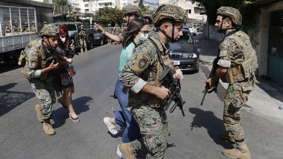 Die libanesische Armee im Einsatz in Beirut.