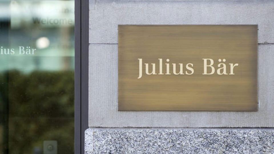 Das Logo der Privatbank Julius Bär, aufgenommen in Zürich
