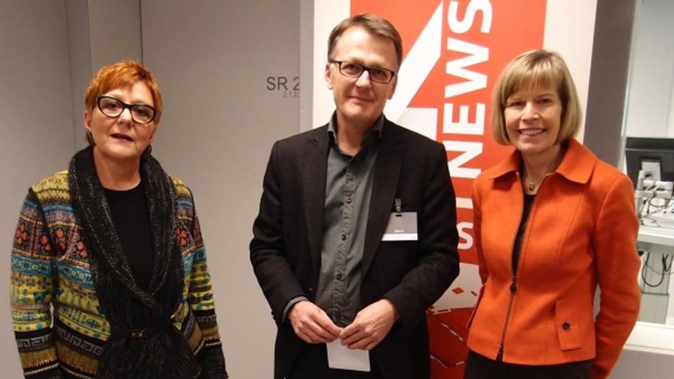 Cécile Bühlmann, Thomas D. Meier, Erika Forster (v.l.n.r.)