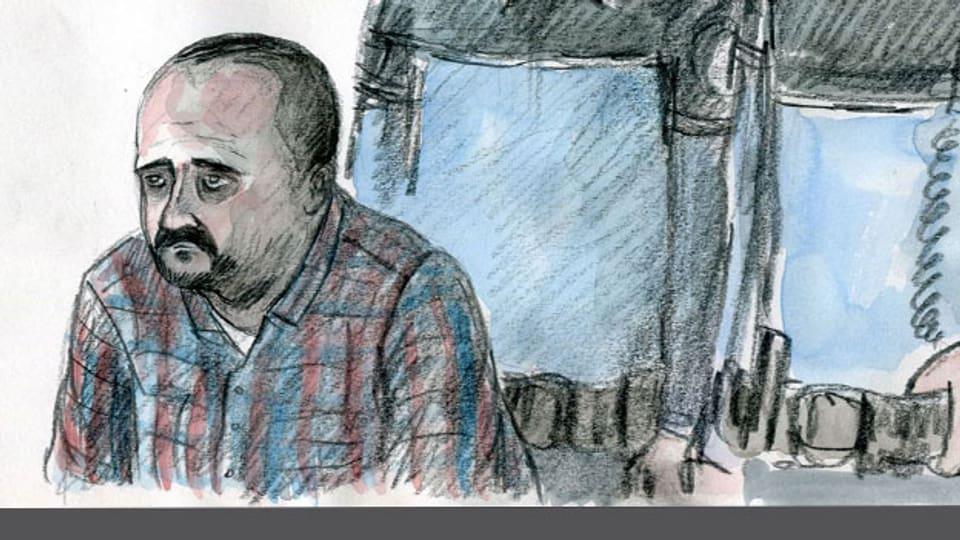 Gerichtszeichnung des Angeklagten Claude D. bei der Urteilsverkündung.