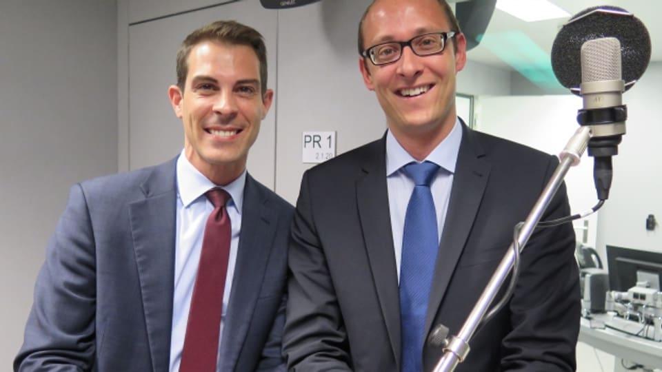 Diskussion um die Post-Grundversorgung: FDP-Nationalrat Thierry Burkart (links) und CVP-Nationalrat Martin Candinas.