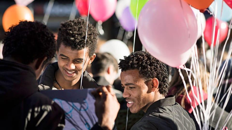 Kundgebung für die Rücknahme der Praxisverschärfung gegenüber eritreischen Flüchtlingen, 10. Dezember 2016, in Bern.