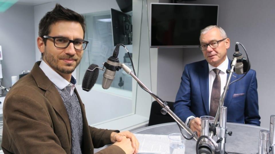 Mitinitiant Raffael Wüthrich (l.) und FDP-Ständerat Ruedi Noser.