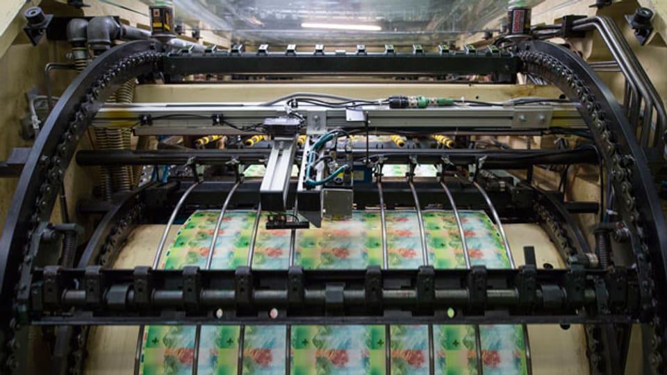 Offsetmaschine zum Druck von Schweizer Banknoten bei der Schweizerischen Nationalbank.