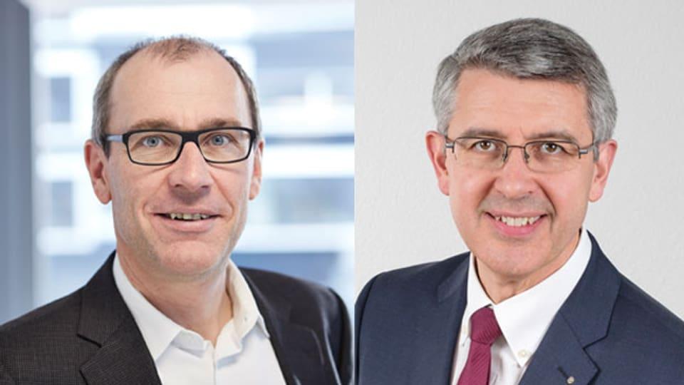 Jean-Philippe Kohl, der interimistische Direktor von Swissmem (links) und Josef Maushart, Geschäftsführer und Verwaltungsratspräsident der Fraisa Gruppe.
