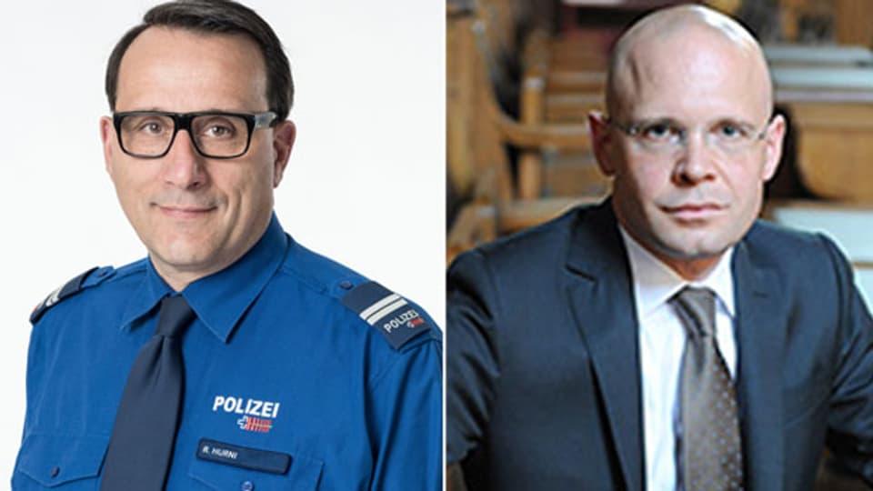 Ralph Hurni, Kommandant der St. Galler Stadtpolizei und Präsident der städtischen Polizeichefs (links) und Baschi Dürr, Basler Sicherheitsdirektor.