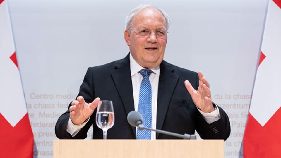 Bundesrat Johann Schneider-Ammann gibt seinen Rücktritt bekannt.