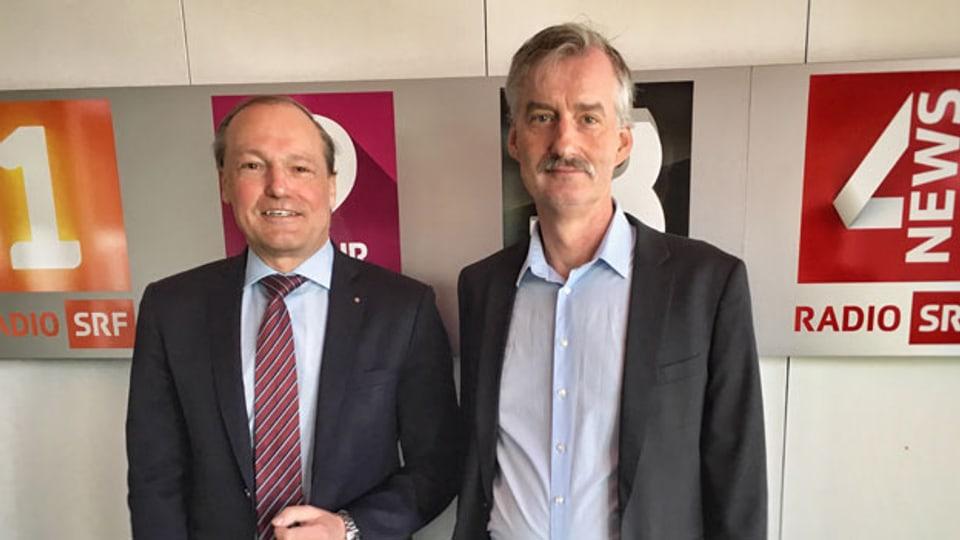 Jörg Kündig, Gemeindepräsident von Gossau (links) und Andreas Müller, Leiter des Milizprojekts beim Gemeindeverband.
