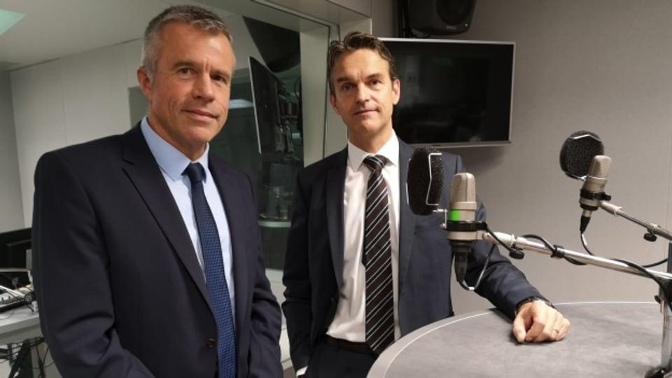 Abwahl oder Wiederwahl? BDP-Nationalrat Lorenz Hess und FDP-Fraktionschef Beat Walti im Gespräch am Morgen der Wahl.