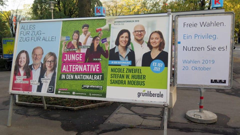 Plakatwände in Zug.