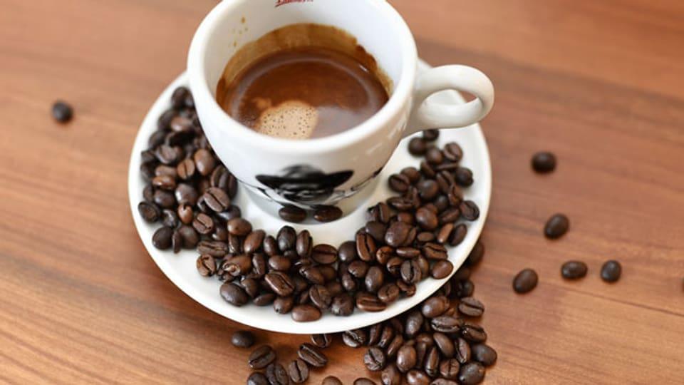 Symbolbild. Eine volle Tasse mit Kaffee umrandet von Kaffeebohnen.
