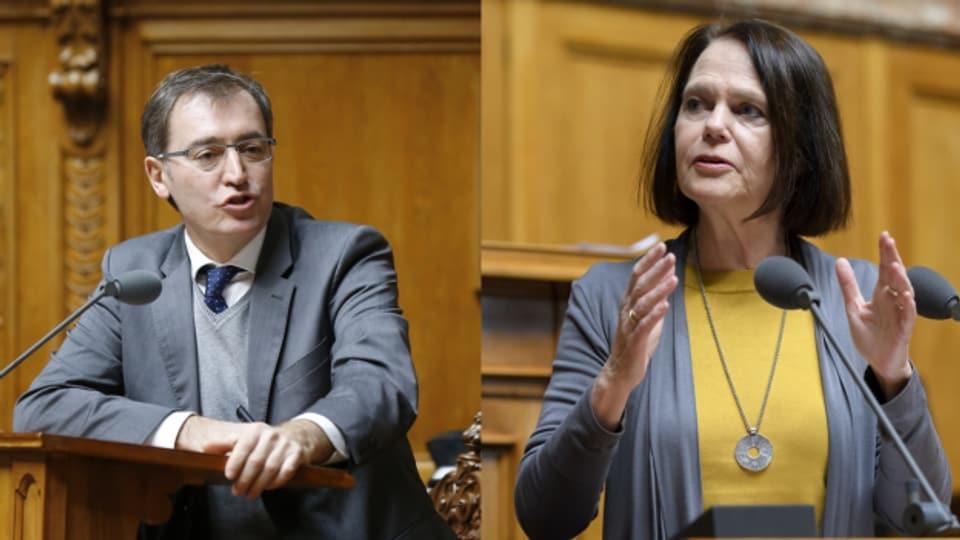 Sie sind sich uneinig: Roland Büchel (SVP) und Claudia Friedl (SP).