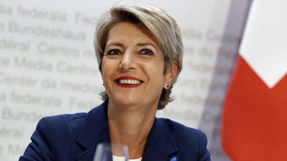 Bundesrätin Karin Keller-Sutter an einer Medienkonferenz des Bundesrates über die Situation des Coronavirus.