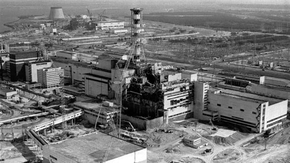 Die Explosion im Atomreaktor in Tschernobyl/Ukraine am 26. April 1986.