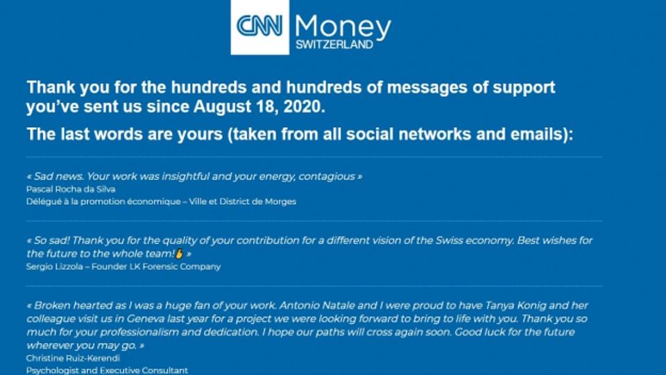 Der Abschiedsscreen von CNN Money Switzerland.