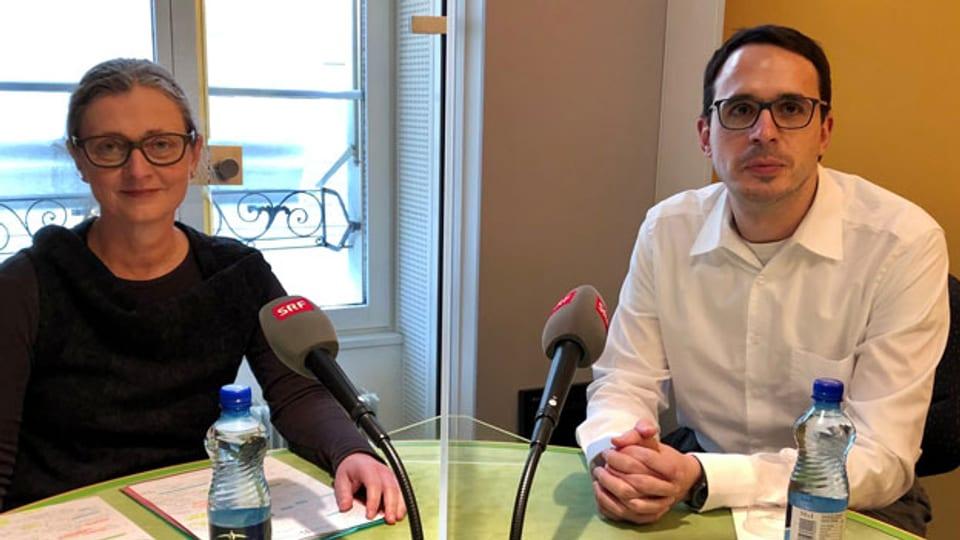 Katharina Stärk, Leiterin Tiergesundheit beim BLV und Stefan Kuster, Leiter übertragbare Krankheiten beim BAG.