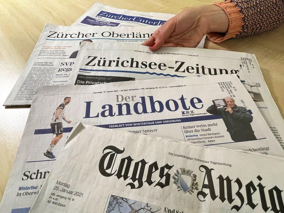 Die fünf Zürcher (Regional)-Zeitungen von Tamedia.