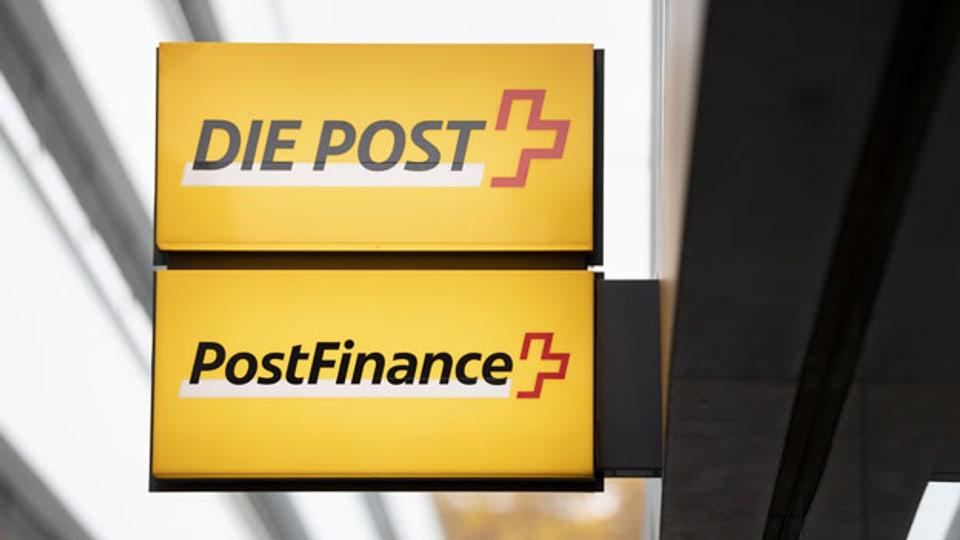 Das Logo der Post und der Postfinance.