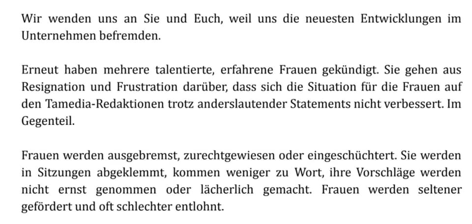 Auszug aus dem offenen Brief an Tamedia.