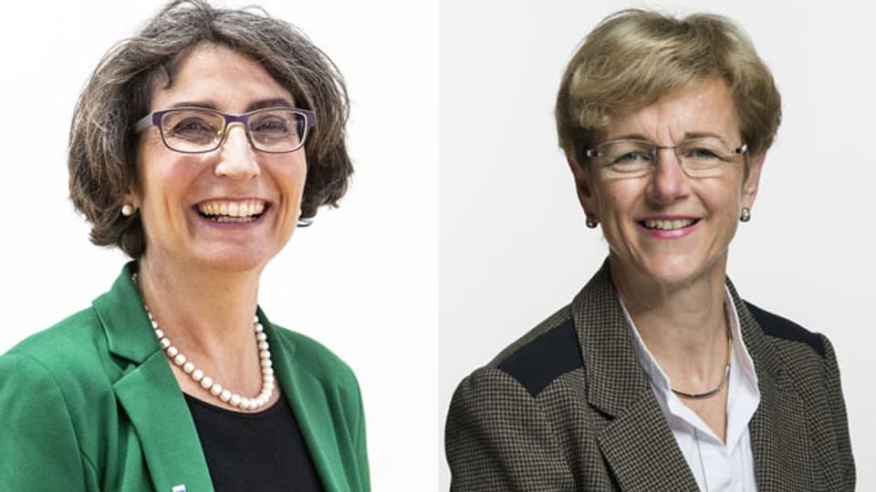 Im Tagesgespräch diskutieren die Nationalrätinnen Manuela Weichelt-Picard (Grüne) (li.) und Verena Herzog (SVP).