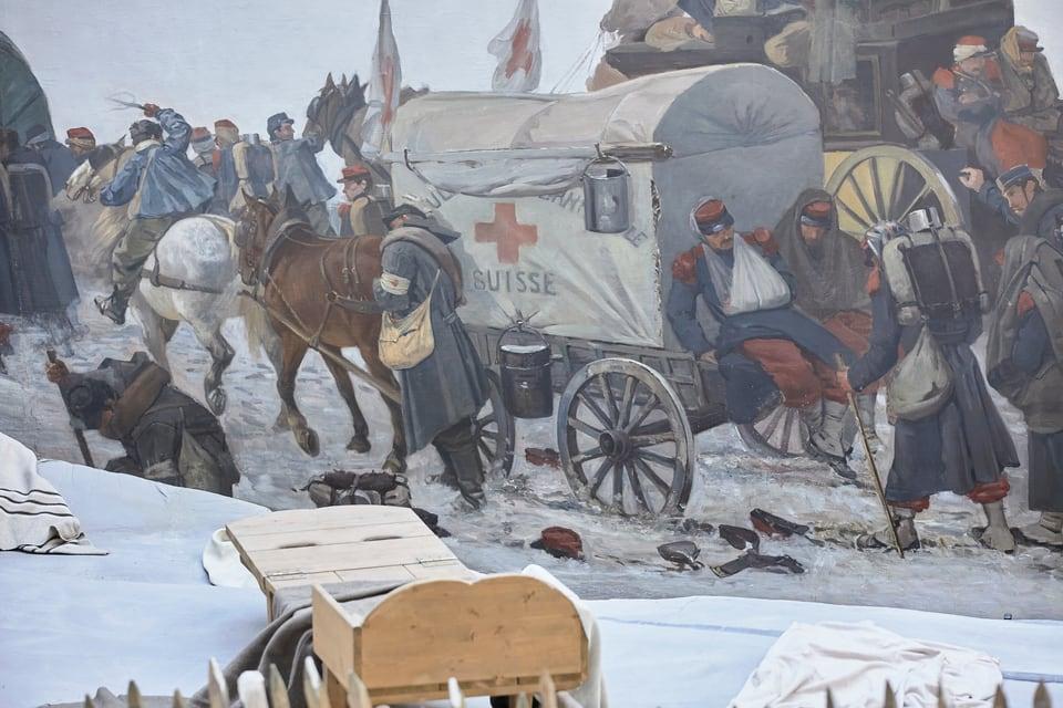 Einsatz des Roten Kreuzes beim Grenzübertritt im Val de Travers, Ausschnitt aus dem Panorama-Gemälde