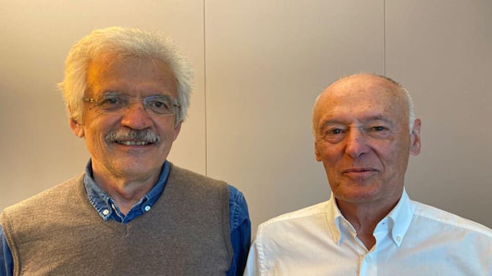Der Historiker Jacques Picard  (li.) und Remo Gysin, ehemaliger SP-Nationalrat, im Tagesgespräch.