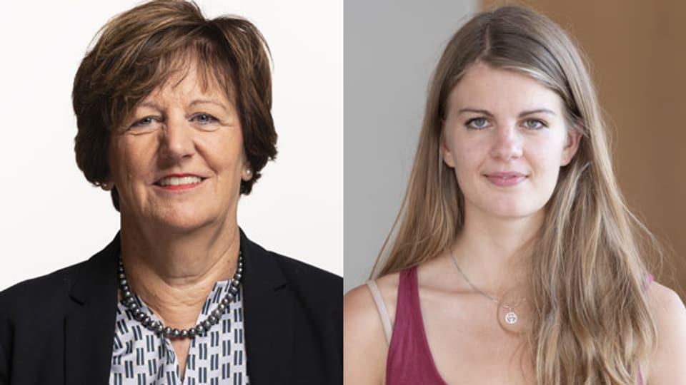 Die Mitte-Nationalrätin Ida Glanzmann (li.) und die Juso-Präsidentin Ronja Jansen diskutieren im «Tagesgespräch».