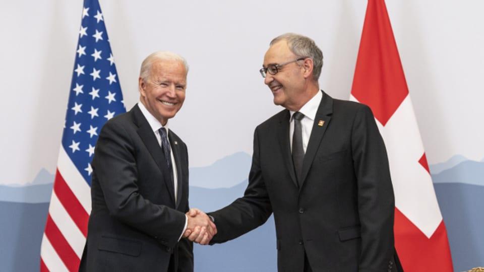 Wirtschaft im Fokus: Joe Biden und Guy Parmelin bei ihrem Treffen in Genf.