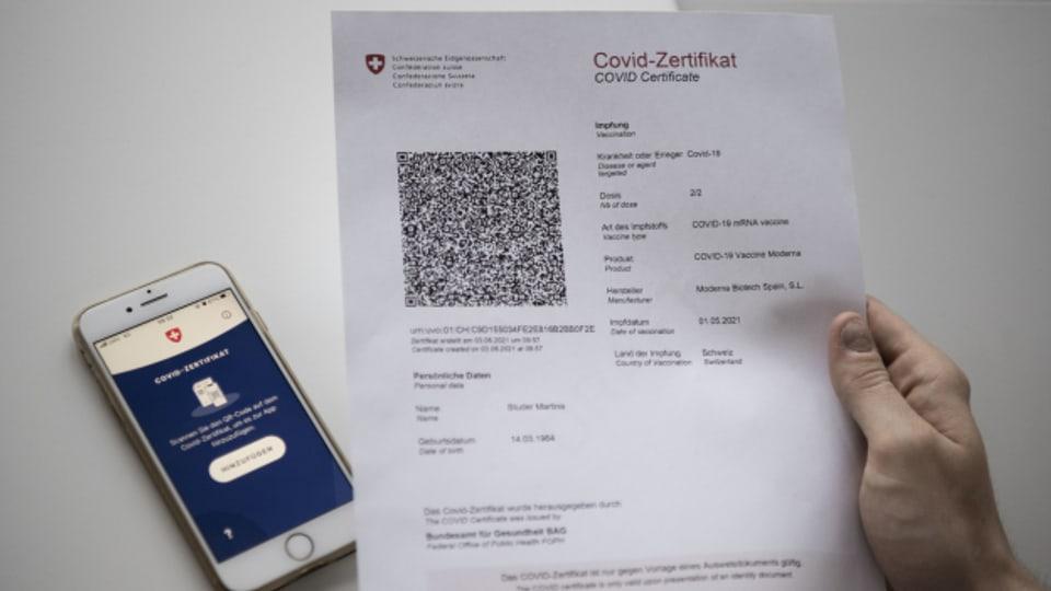 Das Schweizer Covid-Zertifikat.