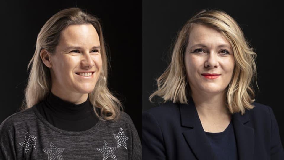 Andrea Geissbühler, SVP Nationalrätin (li.) und Kathrin Bertschy, GLP diskutieren über die Abstimmungsvorlage «Ehe für Alle».