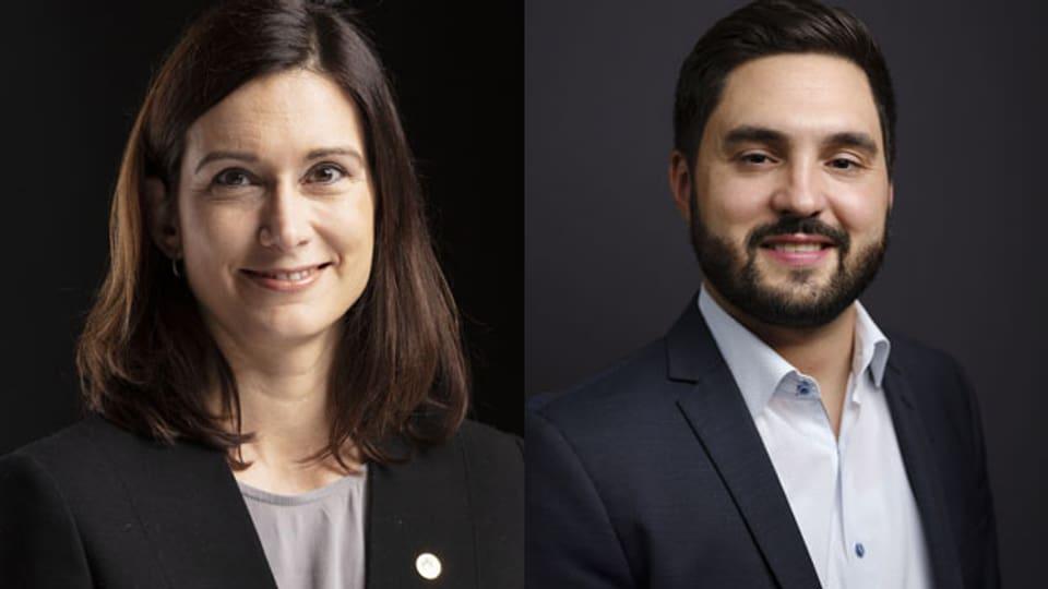 Die aargauer FDP-NationalrätinMaja Riniker (li.) und Cédric Wermuth, Co-Präsident der SP Schweiz und Aargauer Nationalrat.