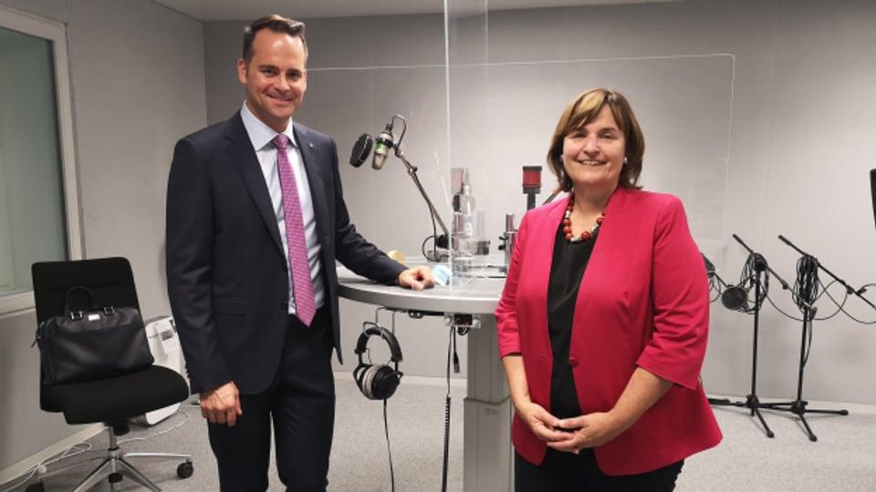 Reformieren, aber wie? Damian Müller (FDP) und Marina Carobbio (SP) diskutieren über die AHV-Reform.