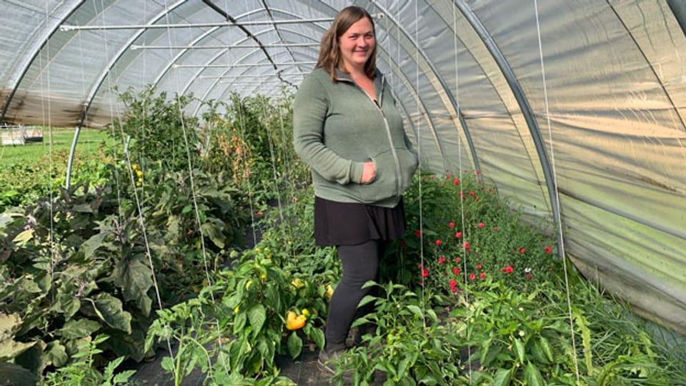 Annina Raselli, Bio-Landwirtin im Puschlav und Präsidentin des Vereins 100% Bio Valposchiavo.