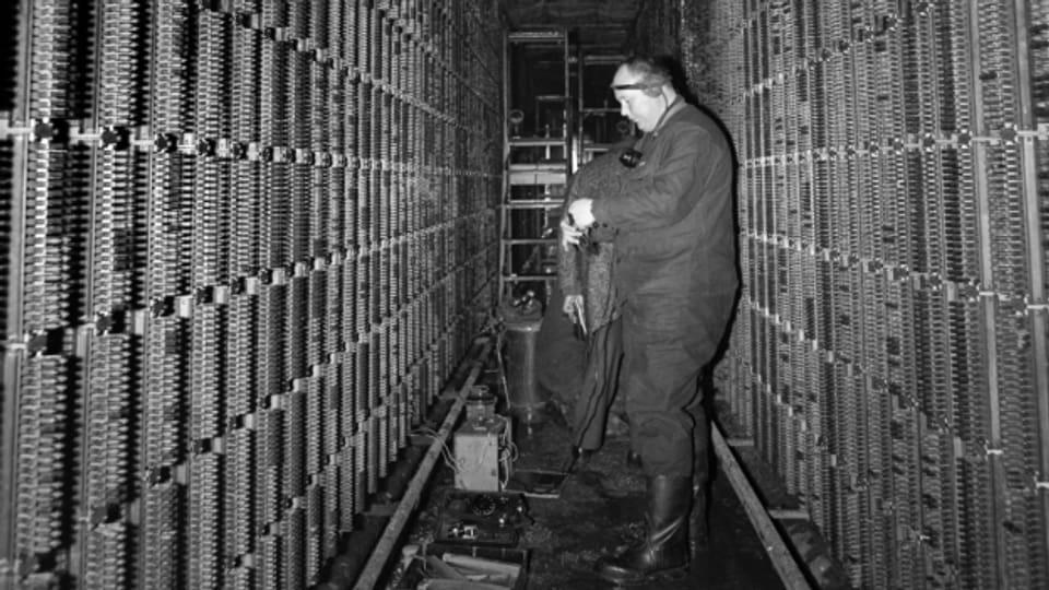 Wiederherstellungsarbeiten nach dem Brand in der Telefonzentrale Hottingen