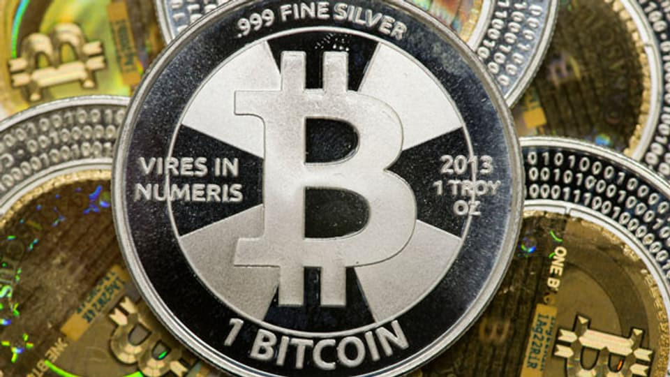 Münzen der Bitcoin Währung.