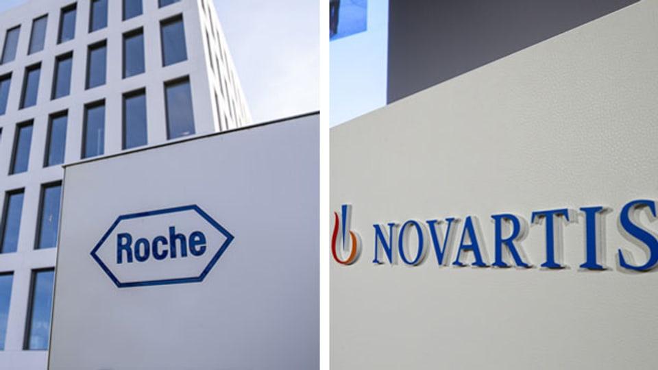 Logo der Schweizer Pharmariesen Roche und Novartis. Montage.