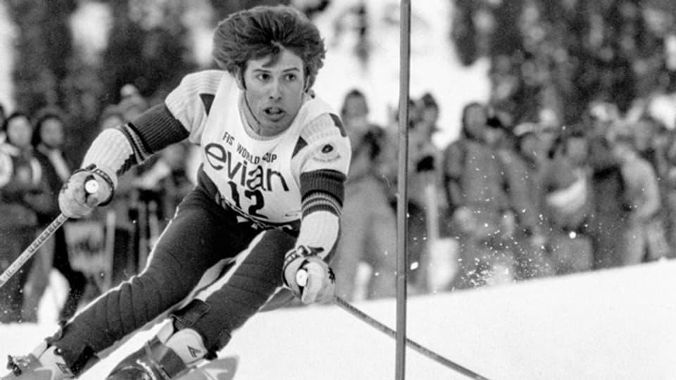 Hansi Hinterseer ca. 1974. Der heutige Schlagersänger war zwischen 1968 und 1978 als Skirennläufer im Weltcup mit dabei.